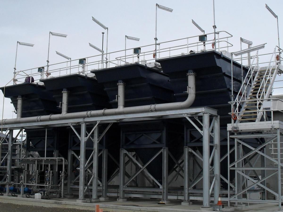 Multiple Lamella settler at water treatment plant - Siebtechnik Tema Australia